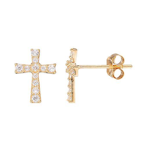 Gold 'N' Ice10k Gold Cubic Zirconia Cross Stud Earrings