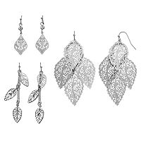 Mudd® Filigree Leaf Drop Earring Set