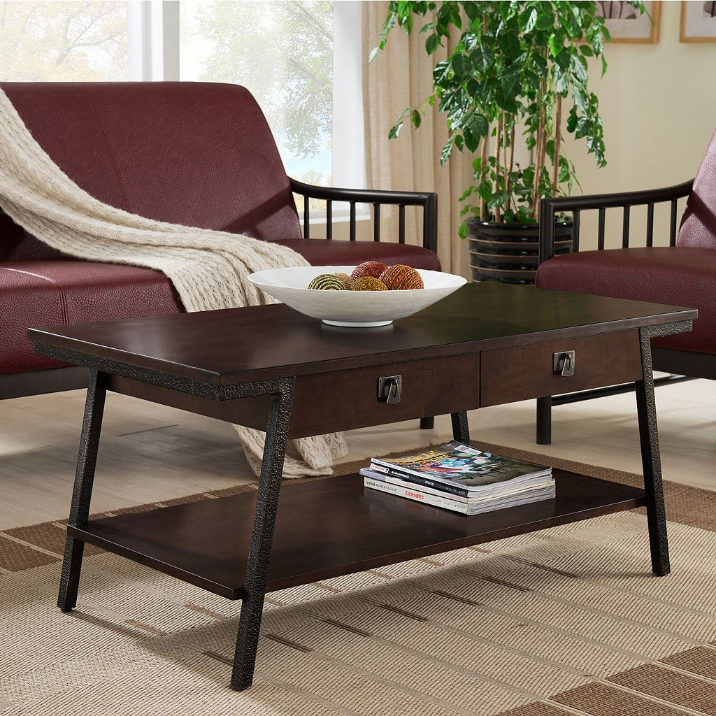 Leick Furniture 2-Drawer Walnut Finish Coffee Table