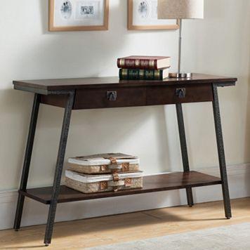 Leick Furniture 2-Drawer Walnut Finish Sofa Table
