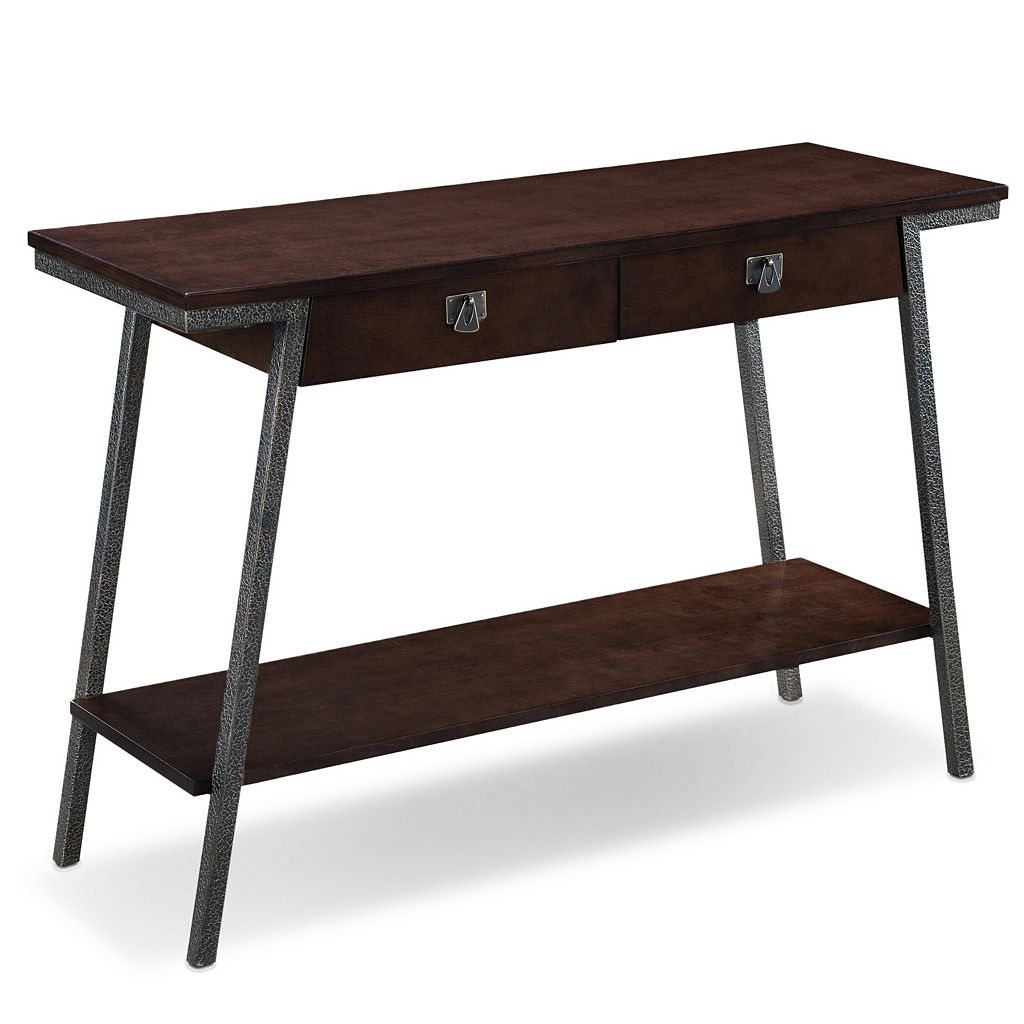 Leick Furniture 2-Drawer Walnut Finish Sofa Table