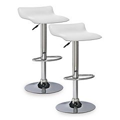 Leick Furniture White Adjustable Swivel Stool 2-piece Set