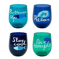 Celebrate Summer Together 4-pc. Costal Stemless Acrylic Wine Glass Set