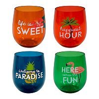 Celebrate Summer Together 4-pc. Havana Stemless Acrylic Wine Glass Set