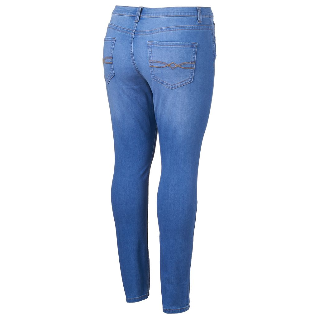 Juniors' Plus Size Mudd® FLX Stretch Whiskered Skinny Jeans