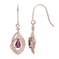 Sterling 'N' Ice 14k Rose Gold Over Silver Twist Drop Earrings