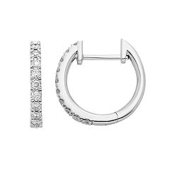 14k White Gold 1/5 Carat T.W. Diamond Huggie Hoop Earrings