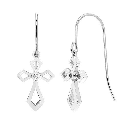 Sterling Silver Diamond Accent Cross Drop Earrings
