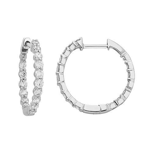 14k White Gold 1 Carat T.W. Diamond Inside Out Hoop Earrings