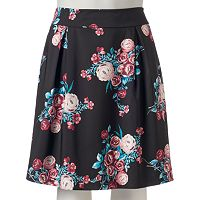 Juniors' Plus Size HeartSoul Pleated Floral Skirt