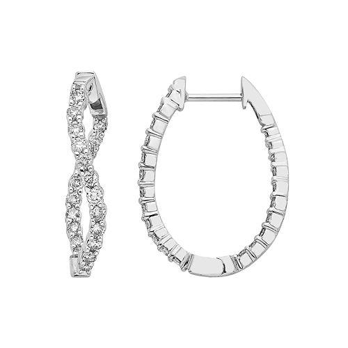 14k White Gold 5/8 Carat T.W. Diamond Inside Out Twisted Hoop Earrings
