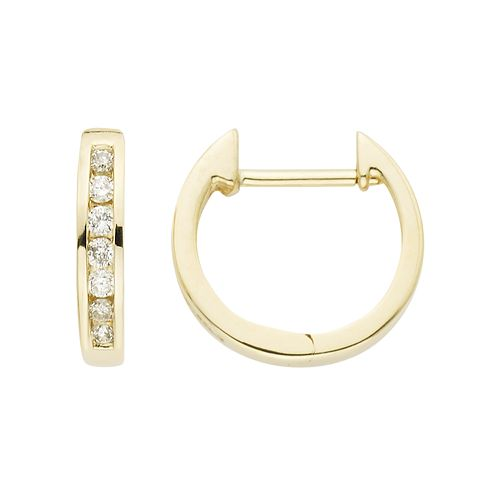 14k Gold 1/8 Carat T.W. Diamond Huggie Hoop Earrings