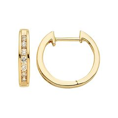 14k Gold 1/4 Carat T.W. Diamond Huggie Hoop Earrings