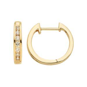 14k Gold 1 8 Carat T W Diamond Huggie Hoop Earrings