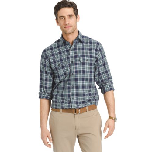 Men's IZOD Classic-Fit Plaid Twill Performance Button-Down Shirt