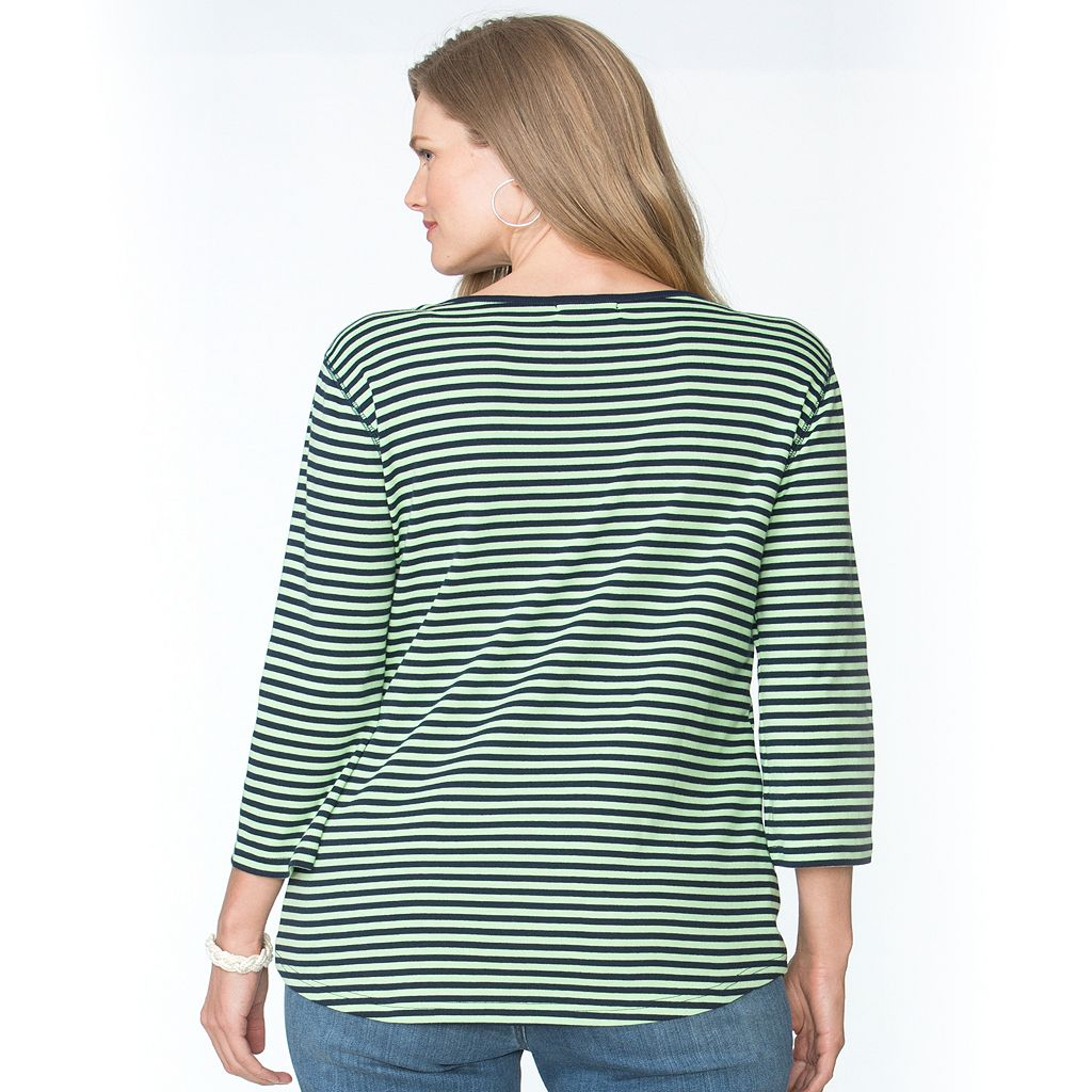 Plus Size Chaps Striped Splitneck Tee