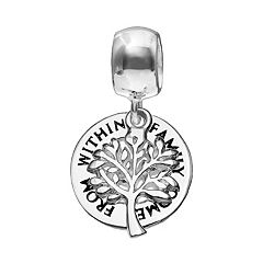 Individuality Beads Sterling Silver 'Family Comes From Within' Tree Disc Charm