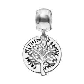 """Individuality Beads Sterling Silver """"Family Comes From Within"""" Tree Disc Charm"""