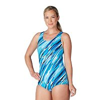 Women's Dolfin Printed Conservative One-Piece Lapsuit