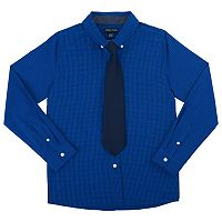 Boys 4-7 French Toast Plaid Poplin Button-Down Shirt with Tie