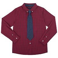 Boys 4-7 French Toast Plaid Poplin Button-Down Shirt with Tie