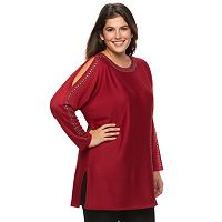 Plus Size Design 365 Studded Cold-Shoulder Tunic Sweater