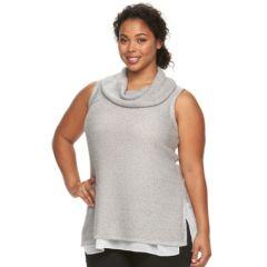 Plus Size Design 365 Cowl Neck Sleeveless Sweater Vest