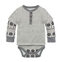 Baby Boy Burt's Bees Baby Organic Mock-Layer Thermal Bodysuit