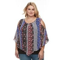 Plus Size AB Studio Scarf-Print Cold-Shoulder Top