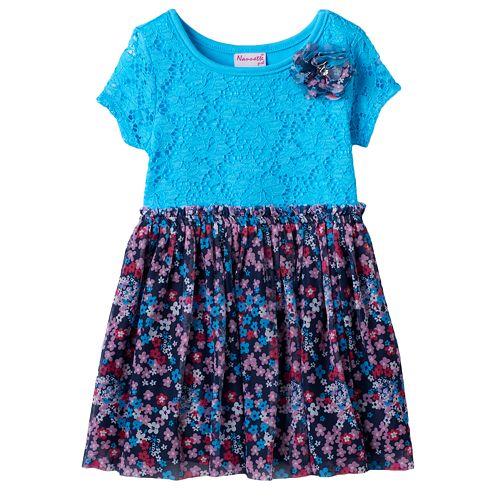 Toddler Girl Nannette Lace Front Patterned Dress