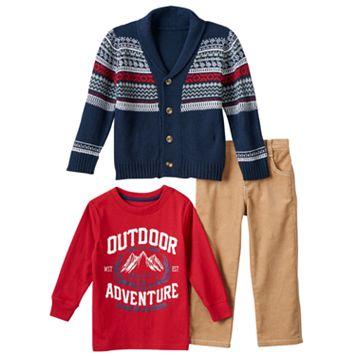 Boys 4-7 Boyzwear Fairisle Cardigan, Outdoor Adventure Tee & Corduroy Pants Set