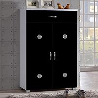 Baxton Studio Heidi 2-Door Two-Tone Shoe Cabinet