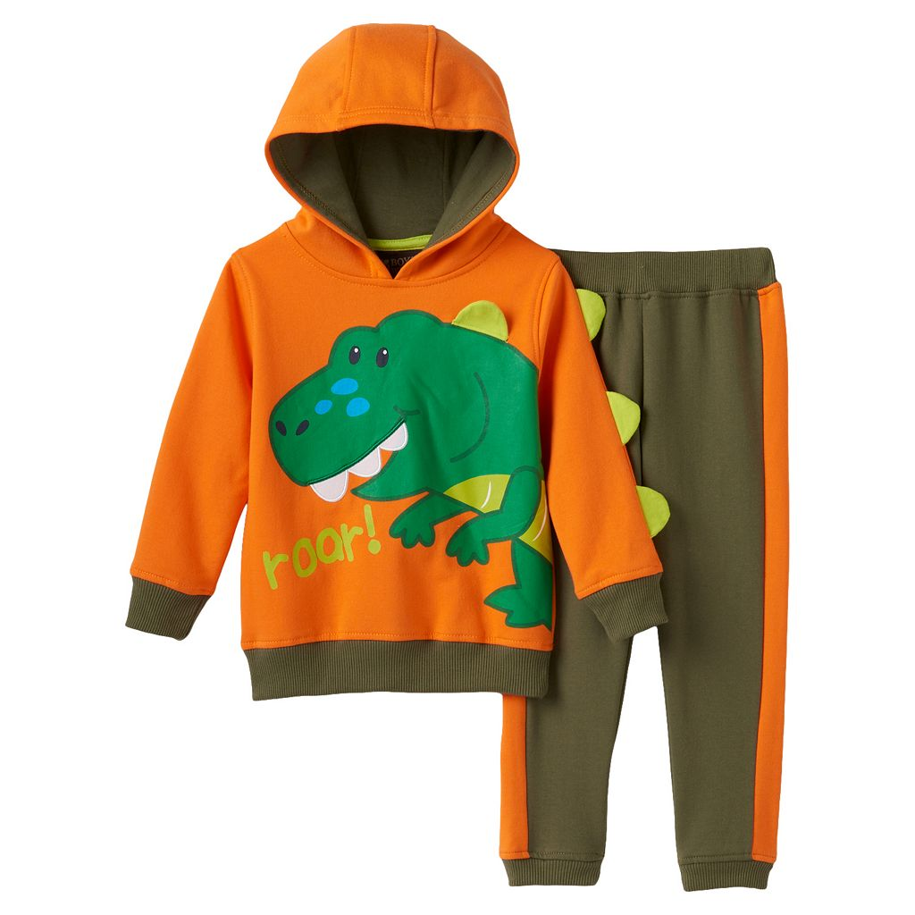 Toddler Boy Boyzwear 3D Spikes Hooded Pullover & Pants Set