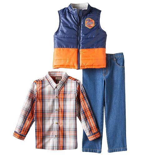 Toddler Boy Boyzwear Two-Tone Vest, Plaid Shirt & Jeans Set
