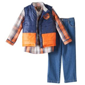 Toddler Boy Boyzwear Two-Tone Vest, Plaid Shirt & Jeans Set