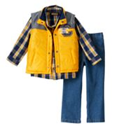 Toddler Boy Boyzwear Vest, Plaid Shirt & Jeans Set