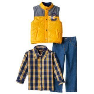 Toddler Boy Boyzwear Vest, Plaid Shirt & Jeans Set