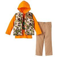 Toddler Boy Boyzwear Camouflage Vest, Hooded T-Rex Tee & Pants Set