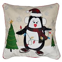 Spencer Home Decor Skating Penguin Holiday Throw Pillow