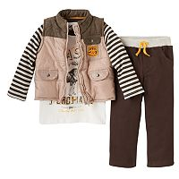 Toddler Boy Boyzwear Puffer Vest, Striped Graphic Tee & Corduroy Pants Set