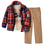 Toddler Boy Boyzwear Plaid Flannel Shirt, 'Lumber Truck' Tee & Khaki Pants Set