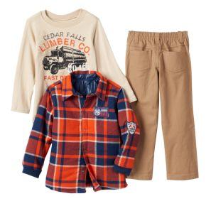 "Toddler Boy Boyzwear Plaid Flannel Shirt, ""Lumber Truck"" Tee & Khaki Pants Set"