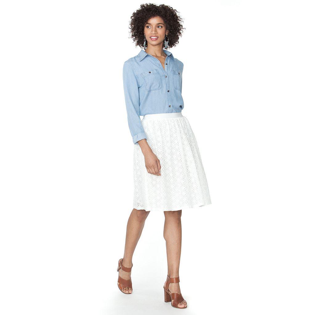 Petite Chaps Lace Skirt
