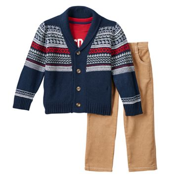 Toddler Boy Boyzwear Fairisle Cardigan, Outdoors Adventure Tee & Corduroy Pants Set