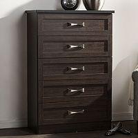 Baxton Studio Colburn 5-Drawer Tallboy Dresser