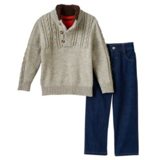 Toddler Boy Boyzwear Cable Knit Sweater, Tee & Jeans Set