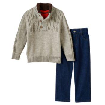 Toddler Boy Boyzwear Cable Knit Sweater, Tee & Jeans Set