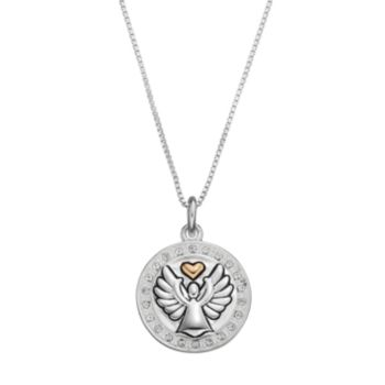 "Timeless Sterling Silver Two Tone Crystal ""Guardian Angel"" Pendant"