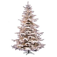 Vickerman 7.5-ft. Clear Pre-Lit Flocked Sierra Artificial Christmas Tree