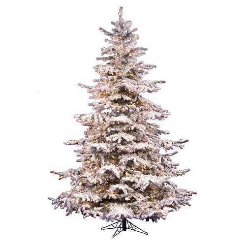 Vickerman 7.5-ft. Clear Pre-Lit Flocked Sierra Artificial Christmas Tree
